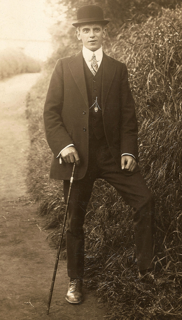 edwardian young man in bowler