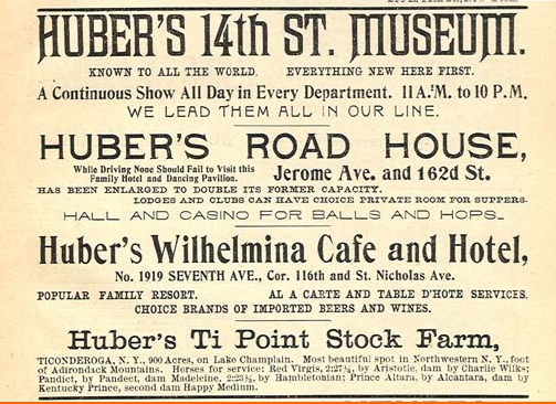 Huber's 14th Street Museum ad (showhistory)